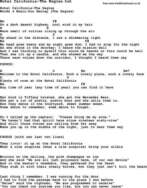 Lyrics Of Hotel California With Guitar Chords