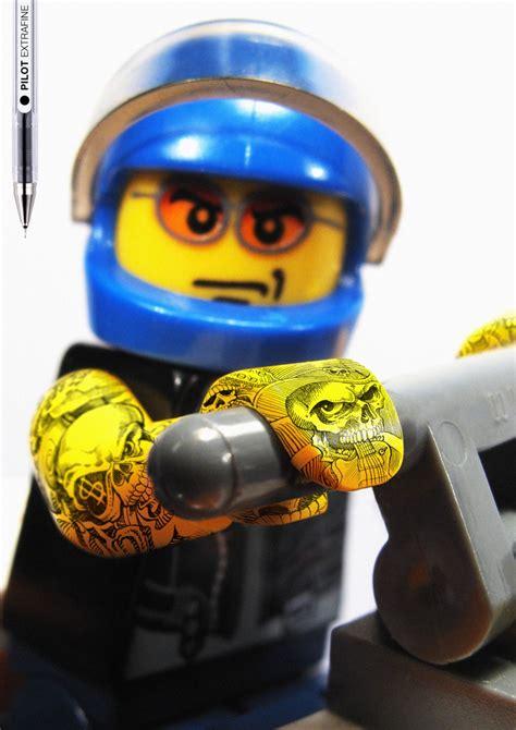 lego tattoo pilot pen lego biker motofire