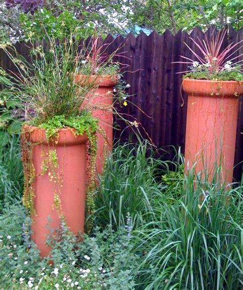 Garden Clay Chimney Clay Sewer Pipe Planters Garden Ideas