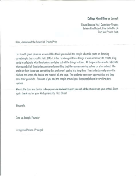 Thank You Letter For Donation For School News Post