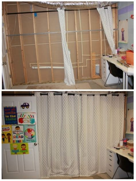 curtains to cover walls my ikea craft room turned an unfinished basement into a