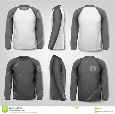 Tshirt Longsleeve Kaos Panjang Three Second black and white sleeved shirts stock vector