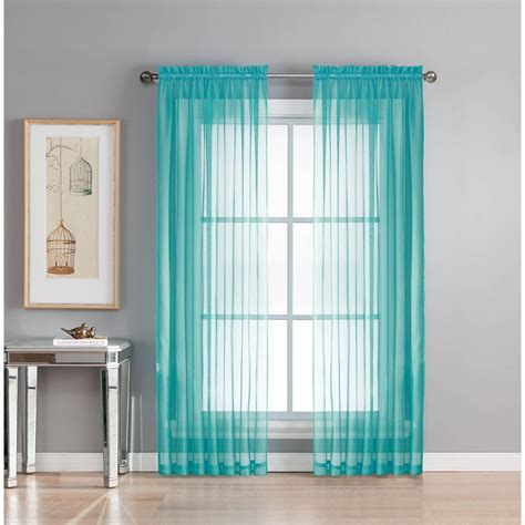 turquoise curtain rod window elements sheer diamond sheer turquoise rod pocket