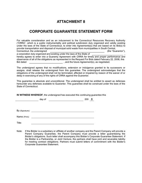 Parent Guarantee Letter For Rent Corporate Guarantee Statement Form In Word And Pdf Formats