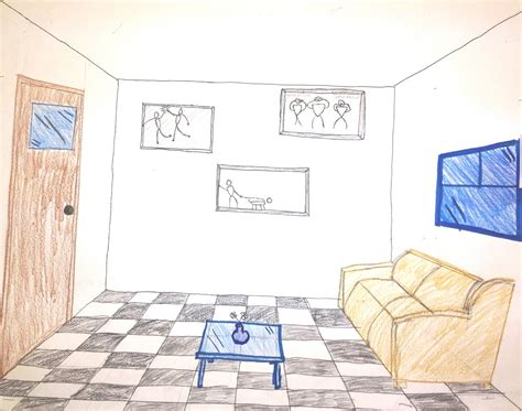 room drawing from neels room marley middle school two point perspective two point perspective drawing