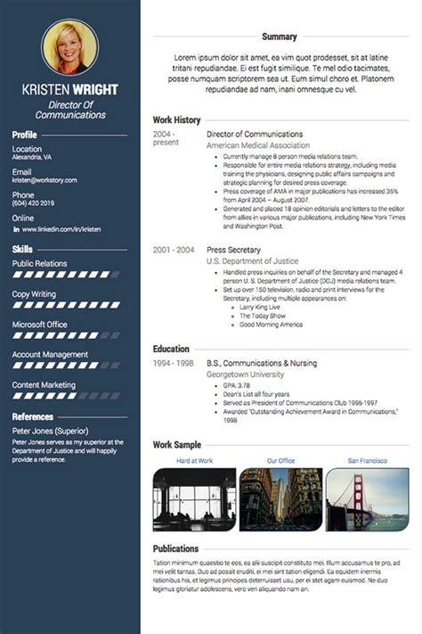 Visual Resume Templates by 5 Visual Cv Professionalcv In