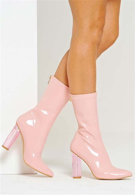 Boots Pink kristin perspex heel mid calf boot pink patent boots