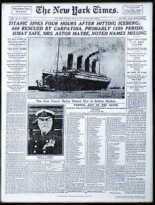Titanic Sinks Newspaper by Rms Titanic Sinks New York Times Newspaper Front Page