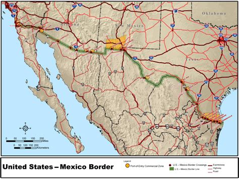 us mexico border wall map mexico united states border