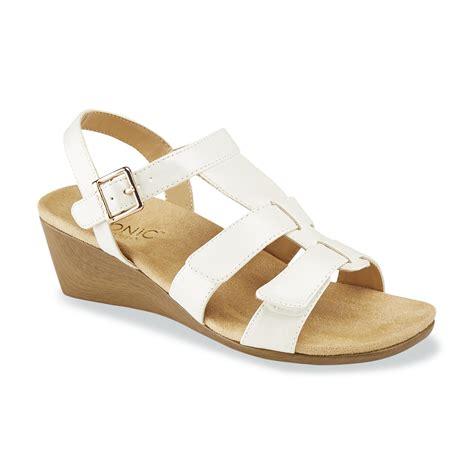 vionic s glenda white wedge sandal wide width available