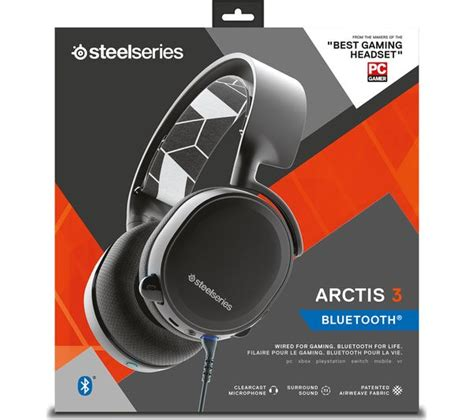 Headset Steelseries Arctis 3 Gaming Headset 7 1 Surround Black White steelseries arctis 3 7 1 bluetooth wireless gaming headset black deals pc world