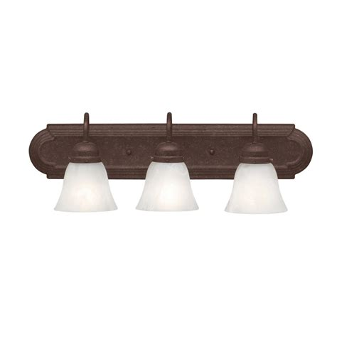 Bathroom Lighting Fixtures Lowes Shop Portfolio 3 Light Tannery Bronze Bathroom Vanity Light At Lowes