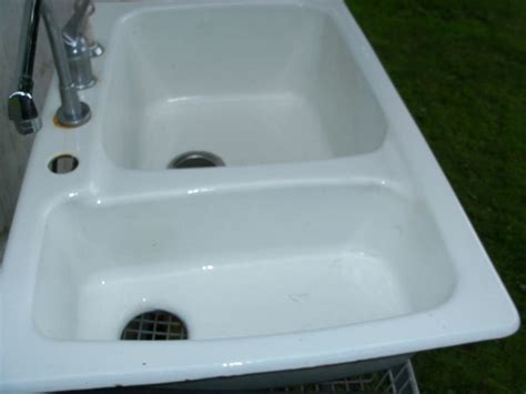 porcelain over cast iron sink pre owned white porcelain over cast iron double basin