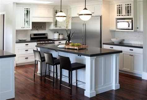 large white kitchen island black kitchen island with white and gray granite countertops transitional kitchen