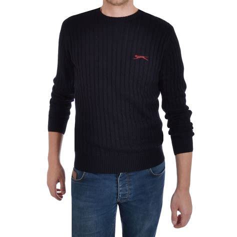 mens chunky knit sweater slazenger nicklaus mens crew neck chunky cable knit