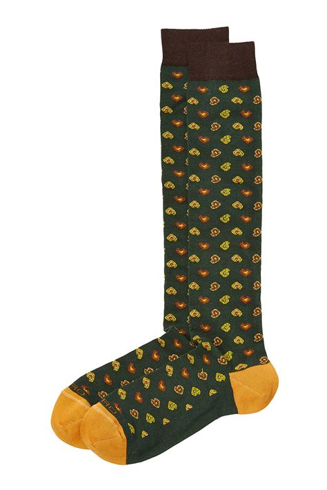 Printed Socks etro printed cotton socks green in green for lyst