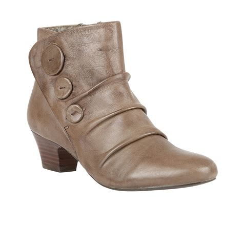 lotus brisk khaki leather pleated ankle boots boots from