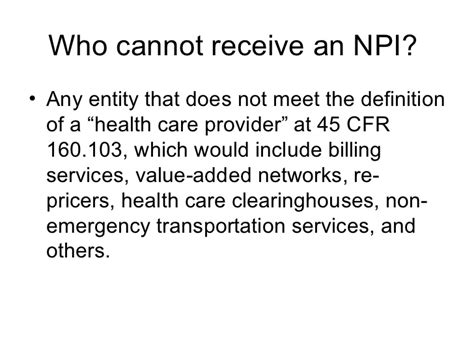 45 cfr section 160 103 npi national provider identifier related to us health