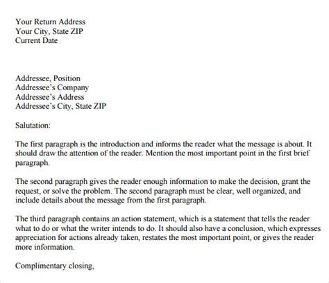 sample personal business letter templates