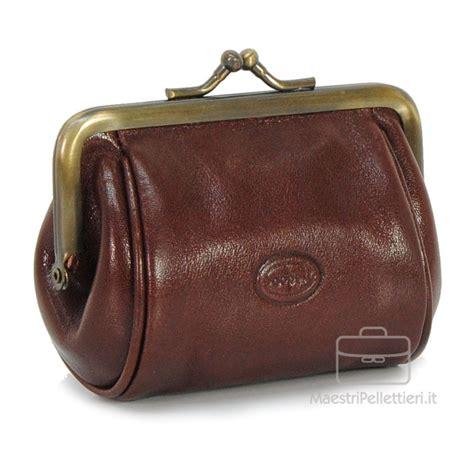 porta monete portamonete con cerniera clutch in pelle toscana marrone