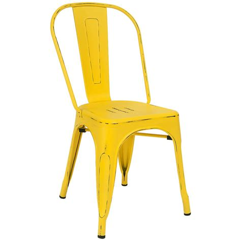 Distressed Bistro Chair Bistro Style Metal Chair In Distressed Yellow Finish