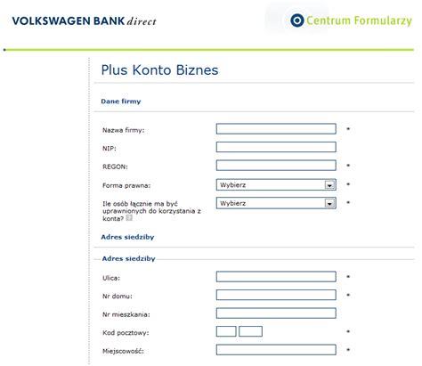 vw bank konto plus konto biznes volkswagen bank polska s a wybierarka pl
