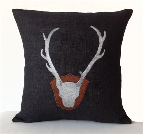 burlap throw pillow cover deer antler silhoutte pillows