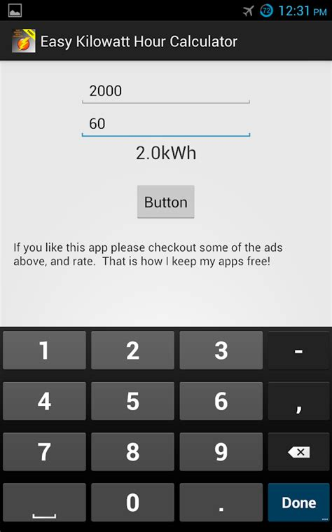 easy kilowatt hour calculator android apps on google play