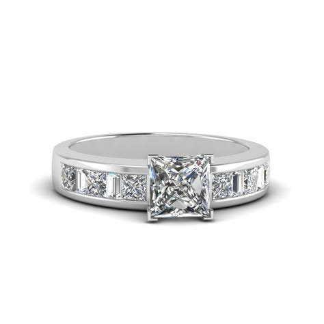 princess cut thick band and baguette engagement