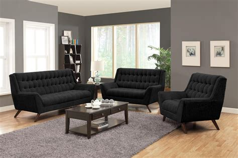 coaster living room furniture coaster furniture black chenille fabric living set