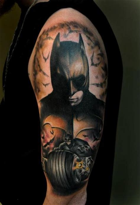 batman tattoo on shoulder schulter fantasie batman tattoo von benjamin laukis