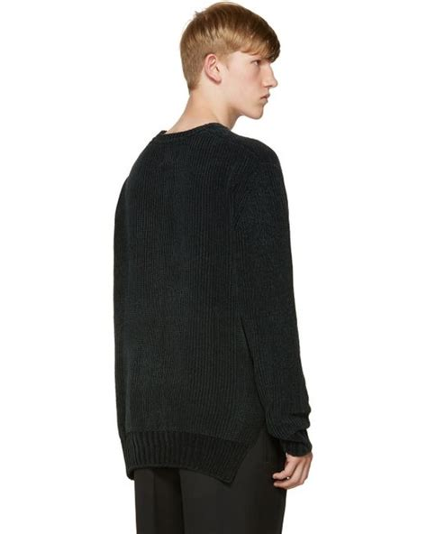 knit velour wooyoungmi green knit velour sweater in multicolor for