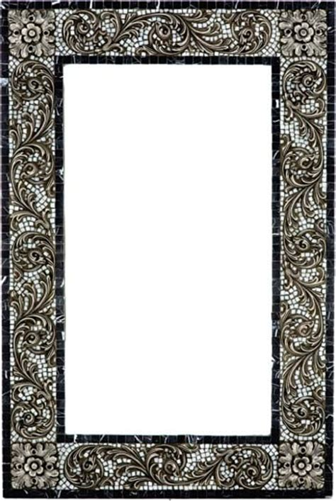 Stone Mosaic Mirror Frame With Metal Inlay Mediterranean Mosaic Bathroom Mirrors