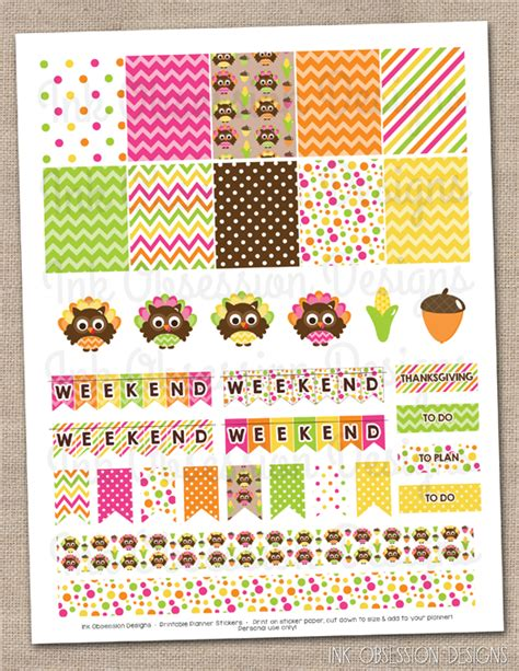 printable turkey stickers thanksgiving owls planner stickers set instant download