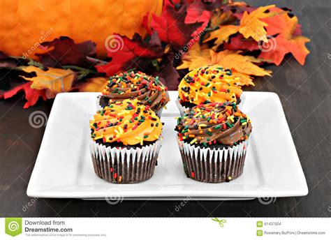 fall decorated cupcakes autumn decorated chocolate cupcakes in a fall setting