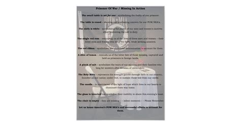 Missing Man Table Script Pow Mia Table Poster Zazzle