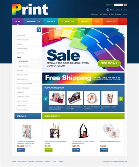 print shop zencart template 33094