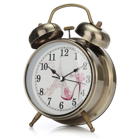 light classic metal desk bell alarm clock quartz movement bedside ebay