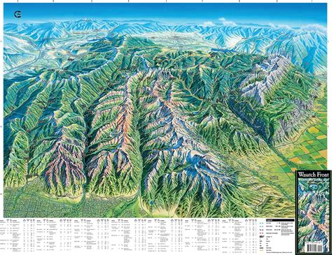 wasatch mountains map wasatch front utah trail tracks panoramic hiking maps