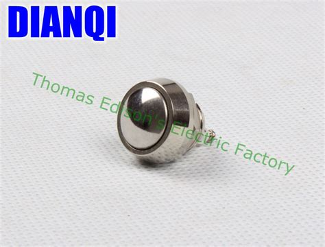 Saklar Push On Nikel 12 Mm 12mm metal push botton waterproof nickel plated brass domed push button switch 1no momentary