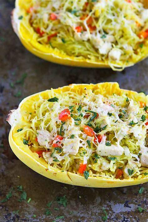 pesto chicken stuffed spaghetti squash recipe healthy