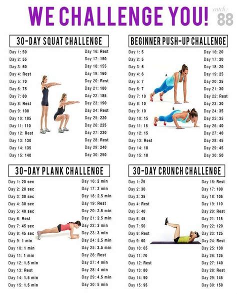30 day push up and sit up challenge 30 day challenge squats plank push ups and crunches