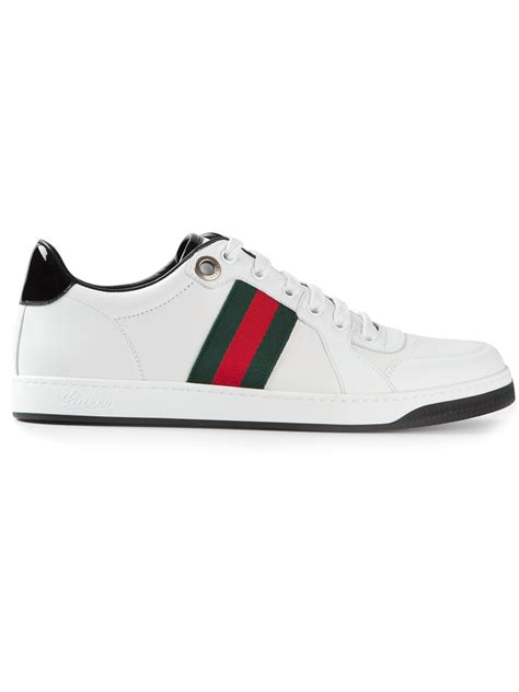 gucci white sneakers gucci signature striped sneakers in white for lyst