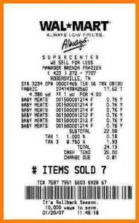 Walmart Receipt Template by 7 Walmart Receipts Cna Resumed