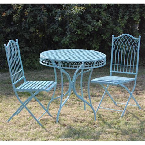 Metal Table And Chairs For Patio blue metal garden bistro table and chairs set homegenies