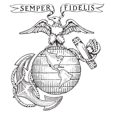 X Usmc Old Logo V Free Images At Clker Com Vector Clip Marines Coloring Pages