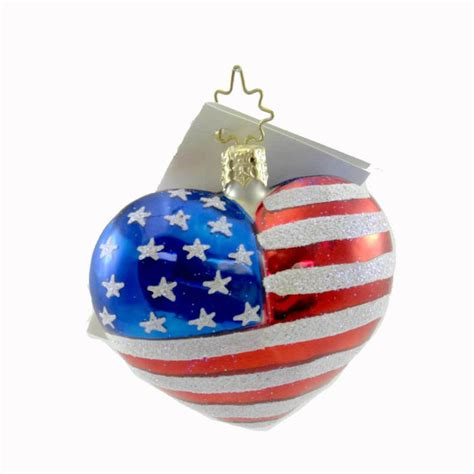 radko red white blue flag heart christmas ornament