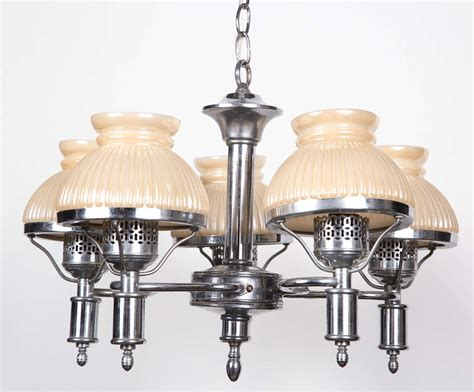 Antique Chandeliers Los Angeles Antique Opalescent Shaded Five Light Chandelier For Sale At 1stdibs