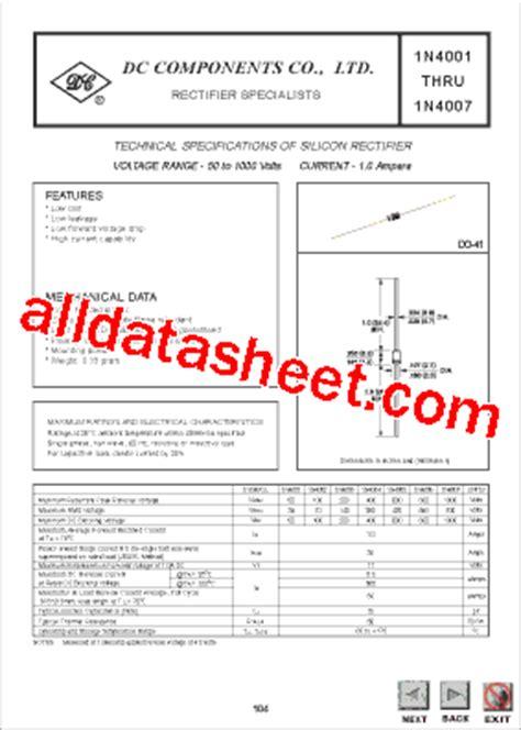 1n4004 siliciumdiode datasheet 1n4004 datasheet pdf dc components