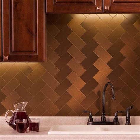 aspect 3x6 brushed bronze long grain metal backsplash tile